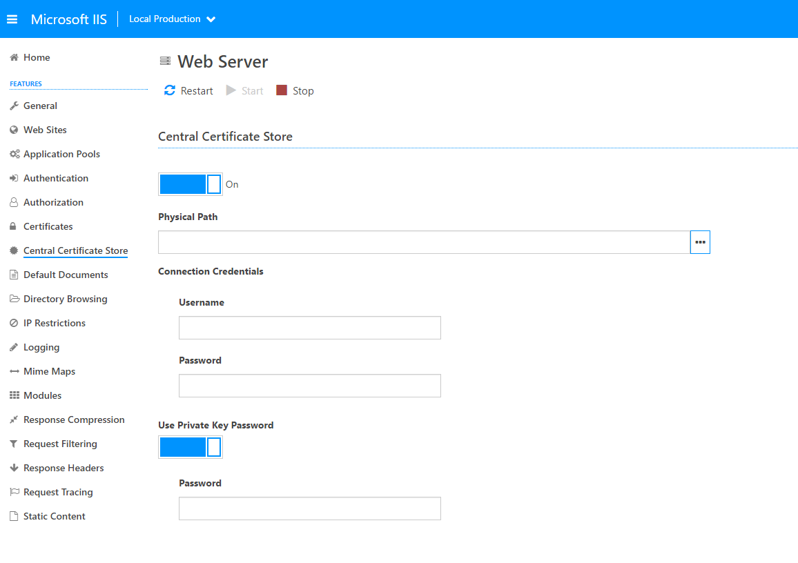Microsoft iis administration api central certificate store when visiting the web server level with iis administration 110 installed a new central certificate store tab will be available 1betcityfo Image collections