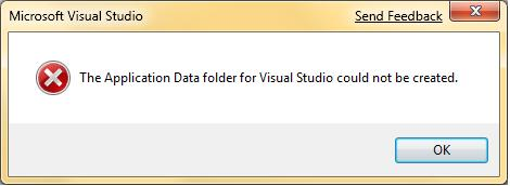 The Application Data folder for Visual Studio could not be created.