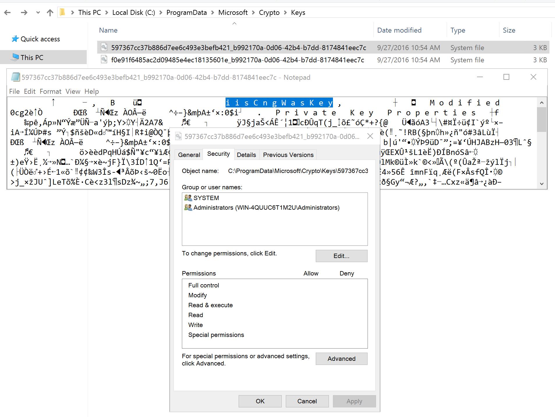 IIS Team Blog - CNG Data Encryption Providers in IIS 10