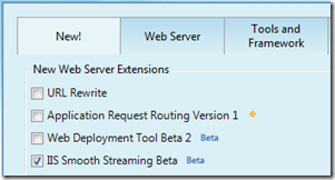 Web Platform Installer Choice for Smooth Streaming