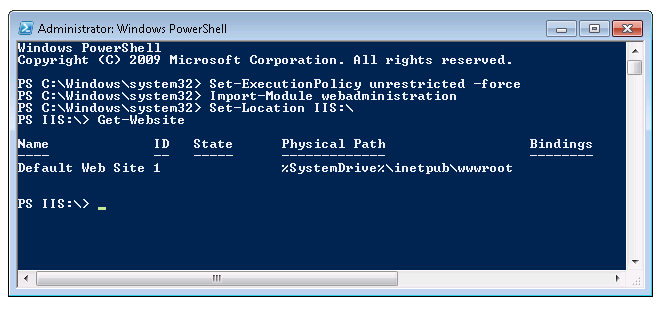 installing the iis 7.0 powershell snap-in