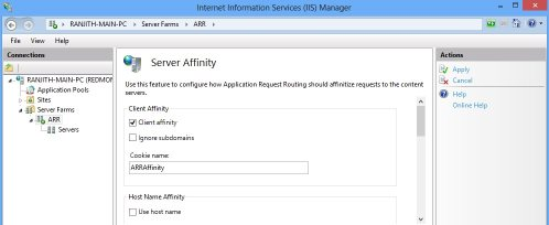 IIS Manager - server farm Server Affinity
