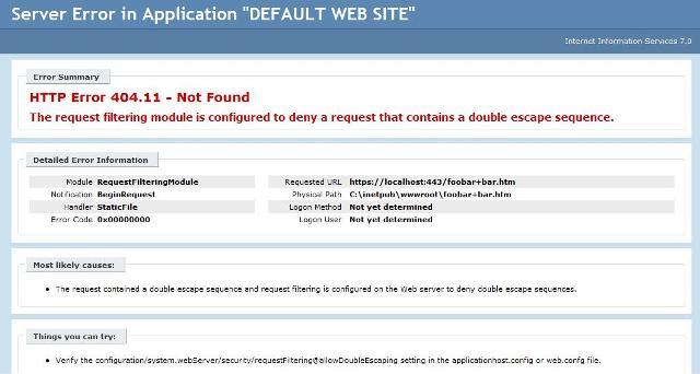 Request Filter error message